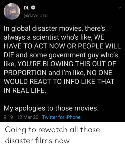 films: Going to rewatch all those disaster films now