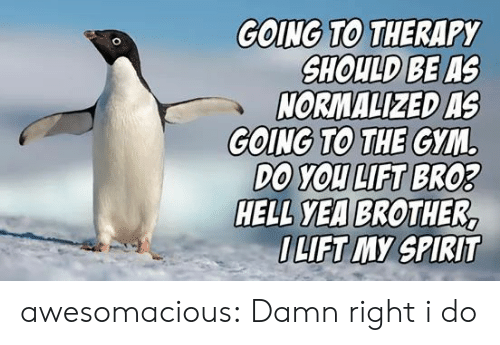 lift: GOING TO THERAPY  SHOULD BE AS  NORMALIZED AS  GOING TO THE GYM  DO YOU LIFT BRO3  HELL YEA BROTHER,  OLIFT MY SPIRIT awesomacious:  Damn right i do