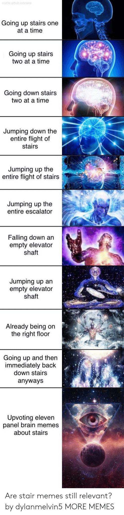 shaft: Going up stairs one  at a time  Going up stairs  two at a time  Going down stairs  two at a time  Jumping down the  entire flight of  stairs  Jumping up the  entire flight of stairs  Jumping up the  entire escalator  Falling down an  empty elevator  shaft  Jumping up an  empty elevator  shaft  Already being on  the right floor  Going up and then  immediately back  down stairs  anyways  Upvoting eleven  panel brain memes  about stairs Are stair memes still relevant? by dylanmelvin5 MORE MEMES