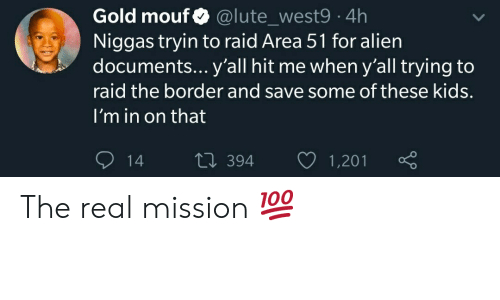 Alien, Kids, and The Real: Gold mouf  Niggas tryin to raid Area 51 for alien  documents... y'all hit me wheny'all trying to  @lute_west9 4h  raid the border and save some of these kids.  I'm in on that  Li 394  1,201  14 The real mission 💯