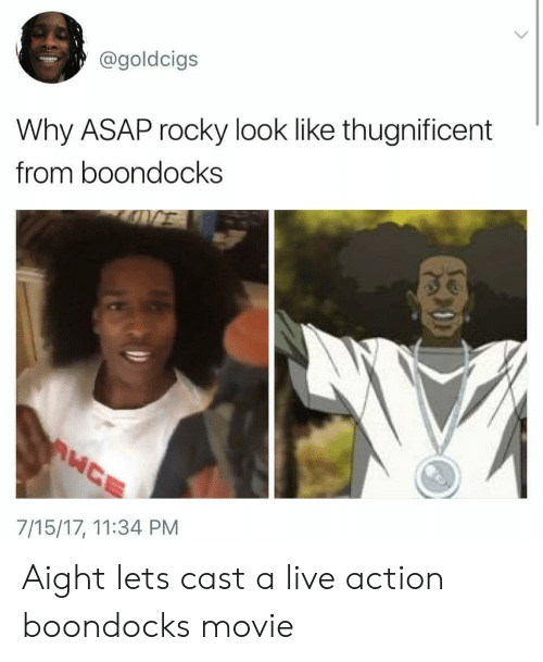 Boondocks: @goldcigs  Why ASAP rocky look like thugnificent  from boondocks  7/15/17, 11:34 PM Aight lets cast a live action boondocks movie