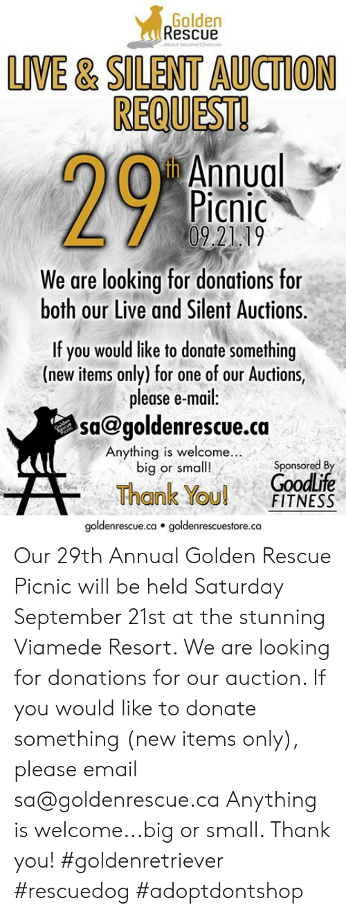 Memes, Thank You, and Email: Golden  Rescue  About Second Chonce  LIVE& SILENT AUCTION  REQUEST!  h Annual  Picnic  09.2119  We are looking for donations for  both our Live and Silent Auctions  If you would like to donate something  (new items only) for one of our Auctions,  please e-mail:  sa@goldenrescue.ca  Chelden  Anything is welcome...  big or small!  Sponsored By  GoodLife  FITNESS  Thank You!  goldenrescue.ca goldenrescuestore.ca Our 29th Annual Golden Rescue Picnic will be held Saturday September 21st at the stunning Viamede Resort. We are looking for donations for our auction. If you would like to donate something (new items only), please email sa@goldenrescue.ca Anything is welcome...big or small. Thank you!  #goldenretriever #rescuedog #adoptdontshop
