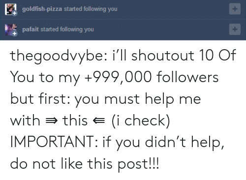 Goldfish, Pizza, and Tumblr: goldfish-pizza started following you  pafait started following you  + thegoodvybe:  i'll shoutout 10 Of You to my +999,000 followers but first: you must help me with ⇛ this ⇚ (i check) IMPORTANT: if you didn't help, do not like this post!!!