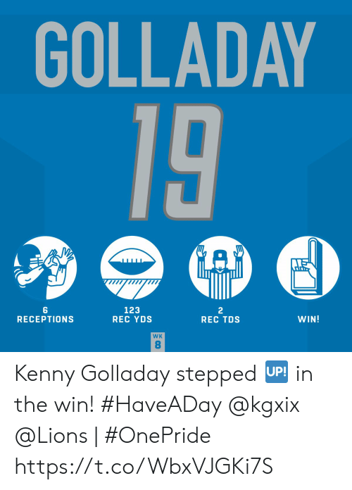 rec: GOLLADAY  19  123  REC YDS  2  REC TDS  WIN!  RECEPTIONS  WK  8 Kenny Golladay stepped 🆙 in the win! #HaveADay @kgxix   @Lions | #OnePride https://t.co/WbxVJGKi7S