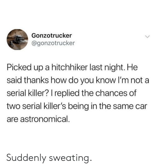 Serial, How, and Car: Gonzotrucker  @gonzotrucker  Picked up a hitchhiker last night. He  said thanks how do you know I'm not a  serial killer? I replied the chances of  two serial killer's being in the same car  are astronomical. Suddenly sweating.