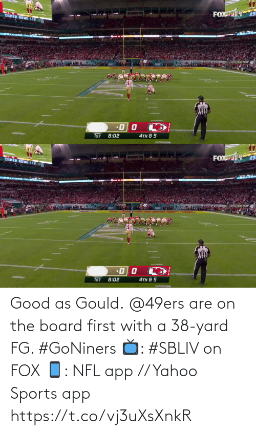 Yahoo: Good as Gould.  @49ers are on the board first with a 38-yard FG. #GoNiners  📺: #SBLIV on FOX 📱: NFL app // Yahoo Sports app https://t.co/vj3uXsXnkR