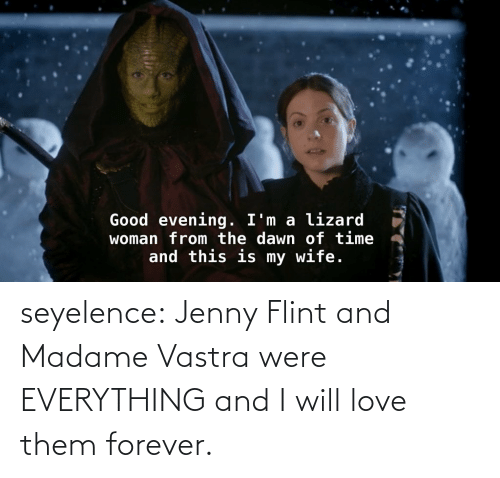 evening: Good evening. I'm a lizard  woman from the dawn of time  and this is my wife. seyelence:  Jenny Flint and Madame Vastra were EVERYTHING and I will love them forever.