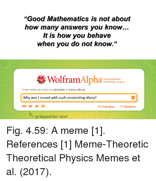 "Non Existent Existentialist, Als, and Random: ""Good Mathematics is not about  how many answers you know..  It is how you behave  when you do not know.""  WolframAlpha  computational-  knowledge engine  Enter what you want to calculate or know about  Why was l cursed with such unrelenting idiocy?  E Examples  Random  go beyond fext input Fig. 4.59: A meme [1].  References  [1] Meme-Theoretic Theoretical Physics Memes et al. (2017)."