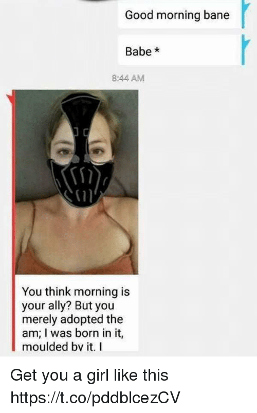 Bane, Funny, and Good Morning: Good morning bane  Babe*  8:44 AM  You think morning is  your ally? But you  merely adopted the  am; I was born in it,  moulded bv it. I Get you a girl like this https://t.co/pddblcezCV