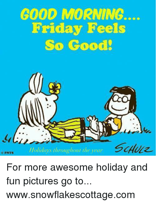 Friday, Memes, and Good Morning: GOOD MORNING.  Friday Feels  So Good!  //olidaos throughout the vear  PNTS For more awesome holiday and fun pictures go to... www.snowflakescottage.com