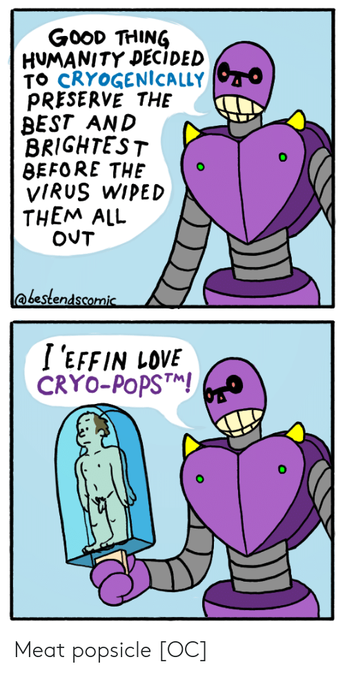 popsicle: GooD THING  HUMANITY DECIDED  TO CRYOGENİCALLY  PRESERVE THE  BEST AND  BRIGHTEST  BEFORE THEo  VIRUS WIPED  THEM ALL  @bestendscomic  I 'EFFIN LOVE  CRYO-PoPST Meat popsicle [OC]
