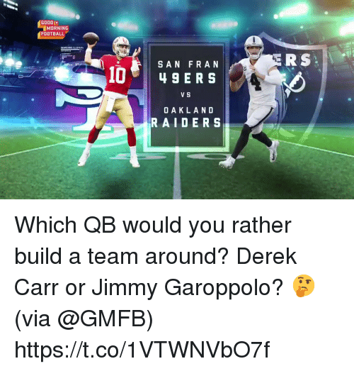 Football, Memes, and Oakland Raiders: GOOD (x  MORNING  FOOTBALL  GEARCHING CLUSTERS  ERS  SAN F RAN  V S  OAKLAND  RAIDERS Which QB would you rather build a team around?  Derek Carr or Jimmy Garoppolo? 🤔 (via @GMFB) https://t.co/1VTWNVbO7f