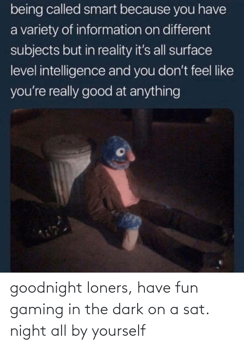 Yourself: goodnight loners, have fun gaming in the dark on a sat. night all by yourself