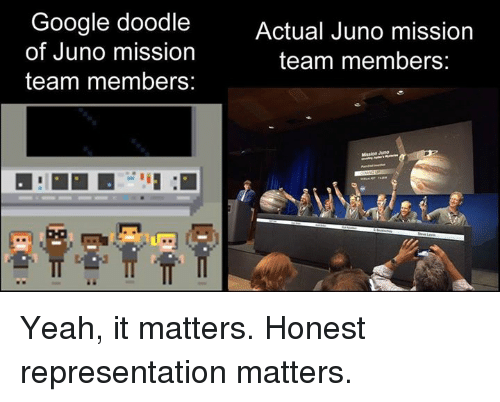 Googłe: Google doodle  of Juno mission  team members:  Actual Juno mission  team members:  Mission Juno Yeah, it matters. Honest representation matters.