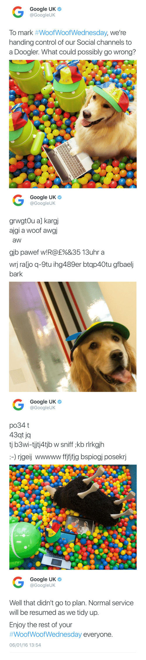 gib: Google UK  @GoogleUK  To mark #WoofWoofWednesday, we're  handing control of our Social channels to  a Doogler. What could possibly go wrong?   Google UK  @GoogleUK  grwgtOu a] kargj  ajgi a woof awgi  aw  gib pawet w! R@£%&35 13uhr a  wrj ra[jo q-9tu ihg489er btqp40tu gfbaelj  bark   Google UK  @GoogleUK  po34 t  43qt jq  tj b3wi-tjtj4tjb w sniff ;kb rlrkgjh  :-) rjgeij wwwww ffjfjfig bspiogj posekrj   Google UK  @GoogleUK  Well that didn't go to plan. Normal service  will be resumed as we tidy up.  Enjoy the rest of your  #WoofWoofWednesday everyone  06/01/16 13:54