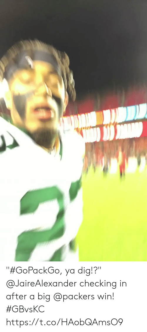"dig: ""#GoPackGo, ya dig!?""  @JaireAlexander checking in after a big @packers win! #GBvsKC https://t.co/HAobQAmsO9"