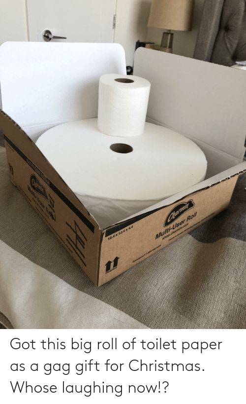 gag: Got this big roll of toilet paper as a gag gift for Christmas. Whose laughing now!?