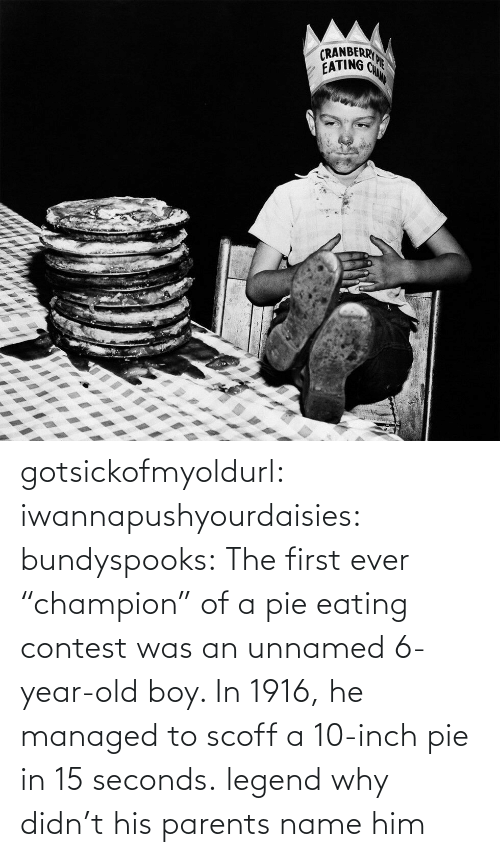 "eating: gotsickofmyoldurl: iwannapushyourdaisies:  bundyspooks:  The first ever ""champion"" of a pie eating contest was an unnamed 6-year-old boy. In 1916, he managed to scoff a 10-inch pie in 15 seconds.  legend  why didn't his parents name him"