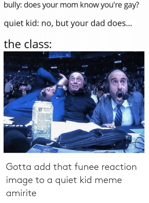 Image: Gotta add that funee reaction image to a quiet kid meme amirite