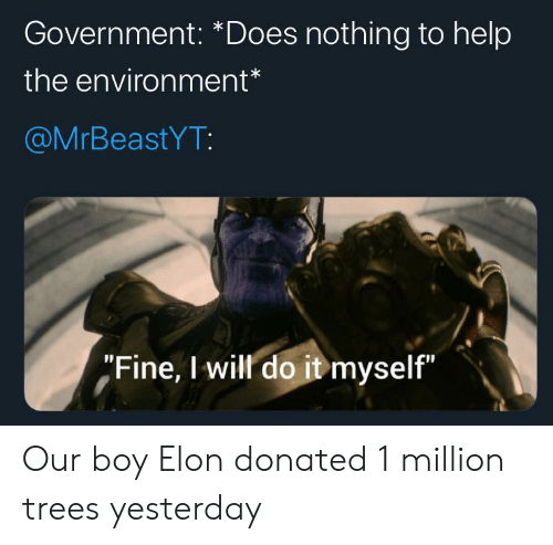 "Help, Trees, and Government: Government: *Does nothing to help  the environment*  @MrBeastYT:  ""Fine, I will do it myself"" Our boy Elon donated 1 million trees yesterday"