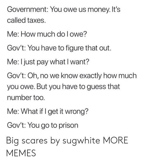 Dank, Memes, and Money: Government: You owe us money. It's  called taxes.  Me: How much do l owe?  Gov't: You have to figure that out.  Me: I just pay what I want?  Gov't: Oh, no we know exactly how much  you owe. But you have to guess that  number too  Me: What if I get it wrong?  Gov't: You go to prison Big scares by sugwhite MORE MEMES