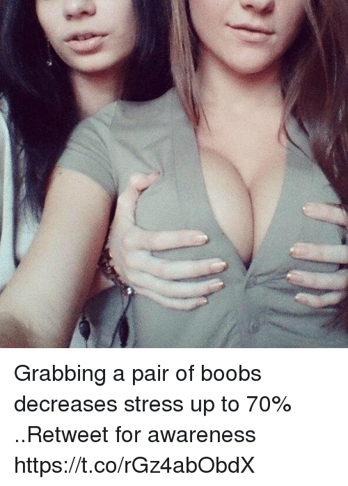 Boobses: Grabbing a pair of boobs decreases stress up to 70% ..Retweet for awareness https://t.co/rGz4abObdX