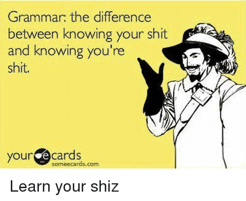 Your E Cards: Grammar: the difference  between knowing your shit  and knowing you're  shit.  your  e cards  sormeecards.com. Learn your shiz
