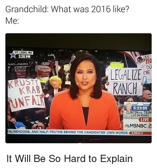 hard to explain: Grandchild: What was 2016 like?  Me:  ST. LOUIS, MO  2:26 PM  Ho  LACEPOLITICS  SNBMSN  CELIZE rie  2016  THE  KRAB  (UNFAİ  KANCH  5:33:05  CLINTON vs. TRU  IVE ON MSNBC  FALSEHOODS, AND HALF-TRUTHS BEHIND THE CANDIDATES' OWN WORDS, 2:26PM CT  MSNBC 줬 <p>It Will Be So Hard to Explain</p>