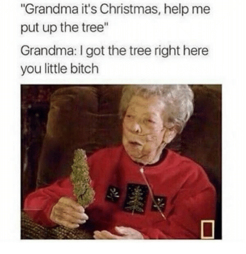 "Bitch, Christmas, and Grandma: Grandma it's Christmas, help me  put up the tree""  Grandma: I got the tree right here  you little bitch"