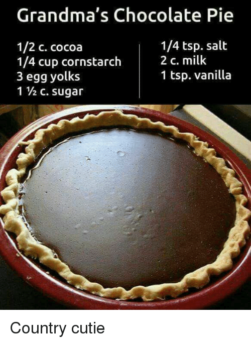 Yolked: Grandma's Chocolate Pie  1/4 tsp. salt  1/2 c. cocoa  1/4 cup cornstarch  2 c. milk  1 tsp. vanilla  3 egg yolks Country cutie