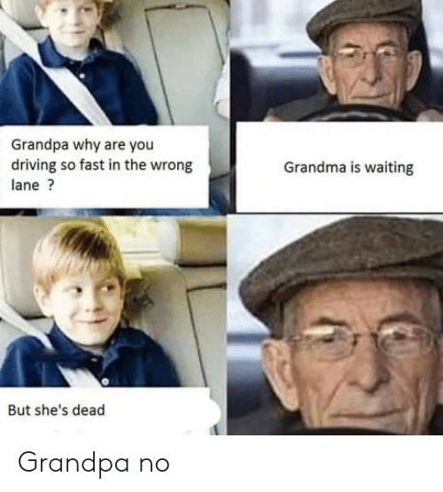 Shes Dead: Grandpa why are you  driving so fast in the wrong  Grandma is waiting  lane?  But she's dead Grandpa no