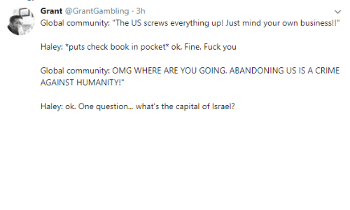 "Community, Crime, and Fuck You: Grant @GrantGambling 3h  Global community: ""The US screws everything up! Just mind your own business!!""  Haley: ""puts check book in pocket* ok. Fine. Fuck you  Global community: OMG WHERE ARE YOU GOING. ABANDONING US IS A CRIME  AGAINST HUMANITY!""  Haley: ok. One question... what's the capital of Israel?"