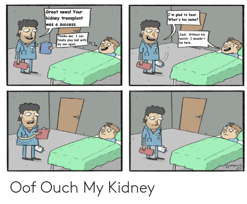 kidney transplant: Great news! Your  I'm glad to hear  What's his name?  kidney transplant  was a success  Jack. Without his  match, I wouldn't  be here  Thanks doc. I can  f inally play ball with  my son again Oof Ouch My Kidney