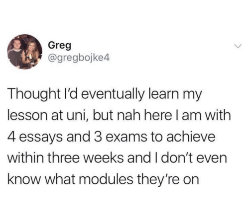 greg: Greg  @gregbojke4  Thought l'd eventually learn my  lesson at uni, but nah here l am with  4 essays and 3 exams to achieve  within three weeks and I don't even  know what modules they're on