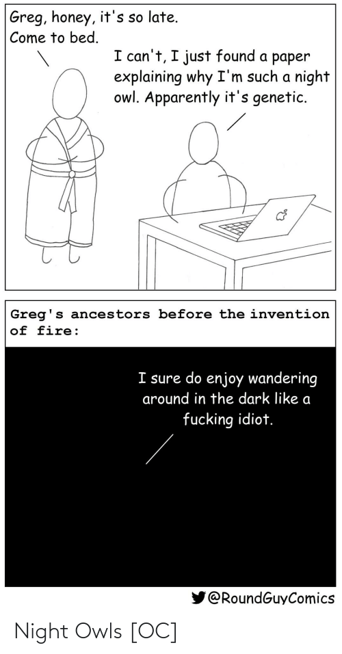 such: Greg, honey, it's so late.  Come to bed.  I can't, I just found a paper  explaining why I'm such a night  owl. Apparently it's genetic.  Greg's ancestors before the invention  of fire:  I sure do enjoy wandering  around in the dark like a  fucking idiot.  @RoundGuyComics Night Owls [OC]