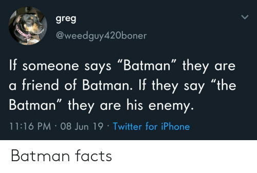 "greg: greg  @weedguy420boner  f someone says ""Batman"" they  friend of Batman. If they say ""the  Batman"" they are his enemy.  are  11:16 PM 08 Jun 19 Twitter for iPhone Batman facts"