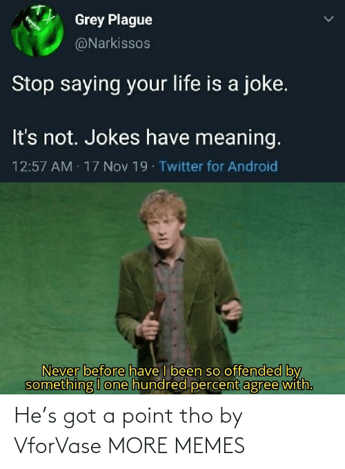 offended: Grey Plague  @Narkissos  Stop saying your life is a joke.  It's not. Jokes have meaning.  12:57 AM 17 Nov 19 Twitter for Android  Never before have I been so offended by  something I one hundred percent agree with. He's got a point tho by VforVase MORE MEMES