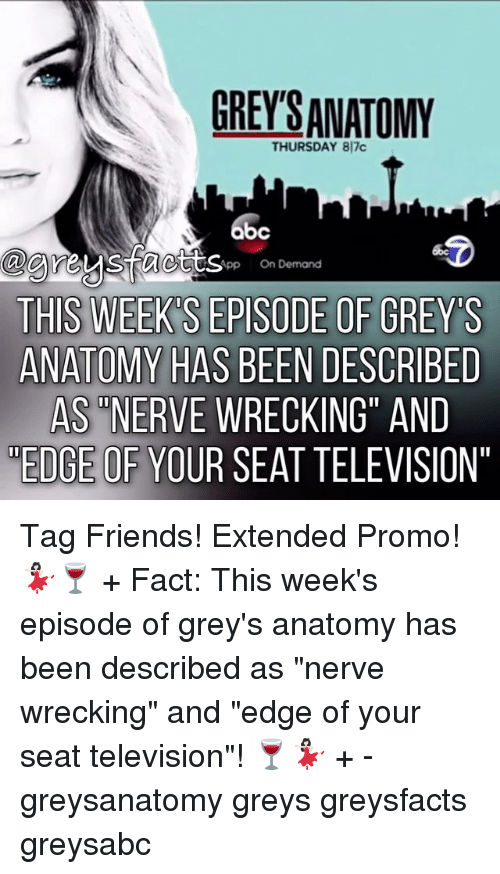 """wrecking: GREYS ANATOMY  THURSDAY 817c  bc  App On Demand  THIS WEEK SEPISODE OF GREYS  ANATOMY HAS BEEN DESCRIBED  AS NERVE WRECKING"""" AND  EDGE OF YOUR SEAT TELEVISION"""" Tag Friends! Extended Promo! 💃🏻🍷 + Fact: This week's episode of grey's anatomy has been described as """"nerve wrecking"""" and """"edge of your seat television""""! 🍷💃🏻 + - greysanatomy greys greysfacts greysabc"""