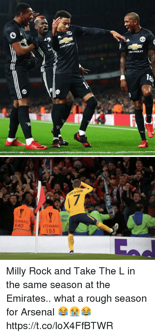 Arsenal, Soccer, and Take the L: GRIEZMANN  GREEN  EWARD  640  STEWARD  153 Milly Rock and Take The L in the same season at the Emirates.. what a rough season for Arsenal 😂😭😂 https://t.co/loX4FfBTWR
