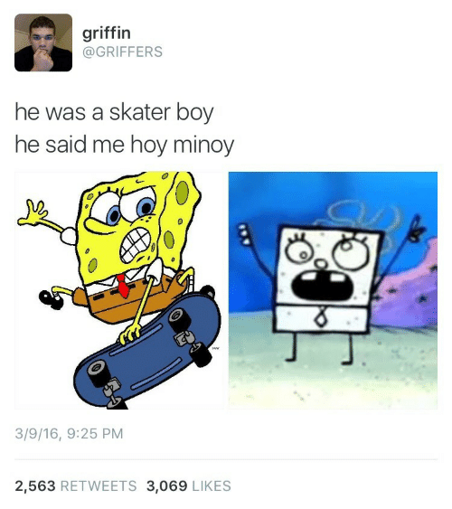 Me Hoy Minoy: griffin  @GRIFFERS  he was a skater boy  he said me hoy minoy  3  3/9/16, 9:25 PM  2,563 RETWEETS 3,069 LIKES