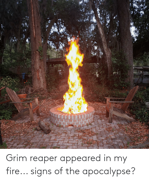 grim: Grim reaper appeared in my fire... signs of the apocalypse?