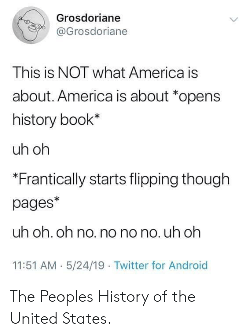 America, Android, and Twitter: Grosdoriane  @Grosdoriane  This is NOT what America is  about. America is about *opens  history book*  uh oh  *Frantically starts flipping though  pages*  uh oh. oh no. no no no. uh oh  11:51 AM 5/24/19 Twitter for Android The Peoples History of the United States.