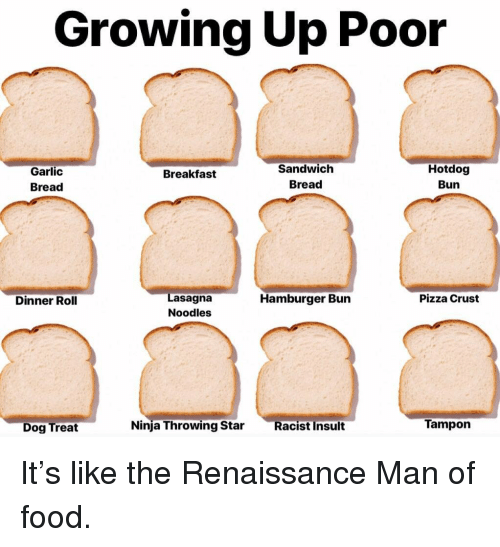 Food, Growing Up, and Memes: Growing Up Poor  Garlic  Bread  Sandwich  Bread  Hotdog  Bun  Breakfast  Lasagna  Noodles  Dinner Roll  Hamburger Bun  Pizza Crust  Dog Treat  Ninja Throwing Star Racist Insult  Tampon It's like the Renaissance Man of food.