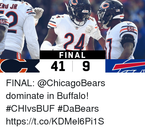 Memes, Buffalo, and 🤖: GS  24  FINAL  41 9 FINAL: @ChicagoBears dominate in Buffalo! #CHIvsBUF  #DaBears https://t.co/KDMel6Pi1S