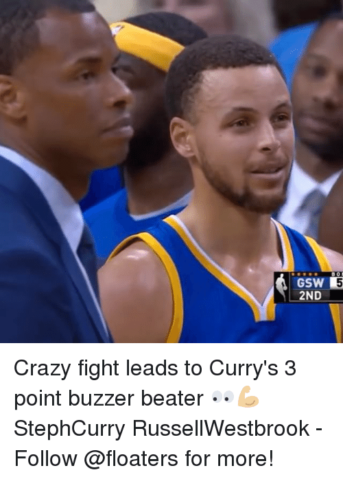 buzzer: GSW 5  2ND- Crazy fight leads to Curry's 3 point buzzer beater 👀💪🏼 StephCurry RussellWestbrook - Follow @floaters for more!