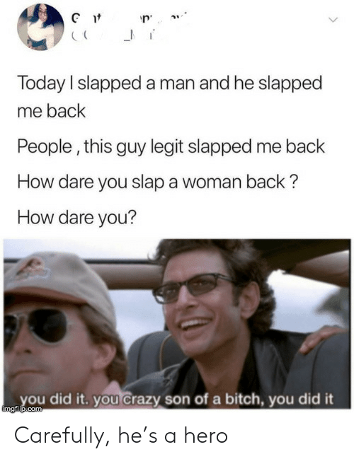 Bitch, Crazy, and Today: Gt  Today I slapped a man and he slapped  me back  People, this guy legit slapped me back  How dare you slap a woman back?  How dare you?  you did it. you Crazy son of a bitch, you did it  imgilip.com Carefully, he's a hero