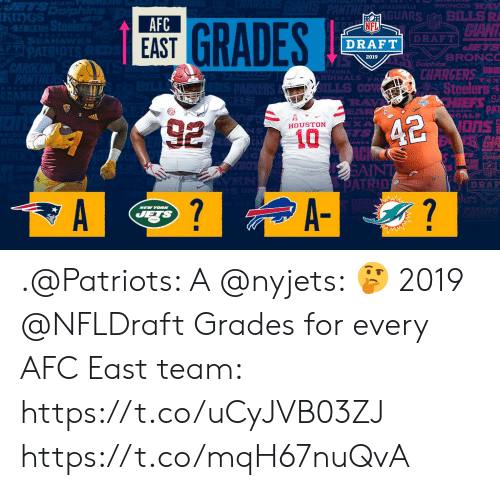 Memes, Nfl, and NFL Draft: GUARS BILLSR  AFC  EAST  NFL  DRAFT  DRAFT  2019  CHARGERS  İZONA  RDINAES PA  Steelers a  ILLS Cow  EXA  HOUSTON  AWK  SAIN  DRAR  7 .@Patriots: A @nyjets: 🤔  2019 @NFLDraft Grades for every AFC East team: https://t.co/uCyJVB03ZJ https://t.co/mqH67nuQvA
