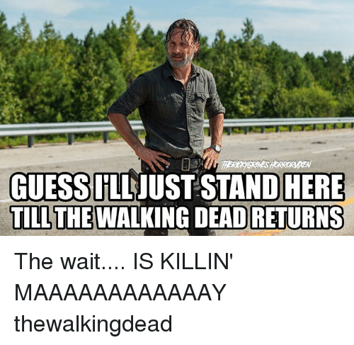 Walking Dead Returns: GUESS  IILL JUST STAND HERE  TILL THE WALKING DEAD RETURNS The wait.... IS KILLIN' MAAAAAAAAAAAAY thewalkingdead