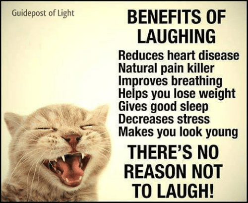 Memes, Good, and Heart: Guidepost of Light  BENEFITS OF  LAUGHING  Reduces heart disease  Natural pain killer  Improves breathing  Helps you lose weight  Gives good sleep  Decreases stress  Makes you look young  THERE'S NO  REASON NOT  TO LAUGH!