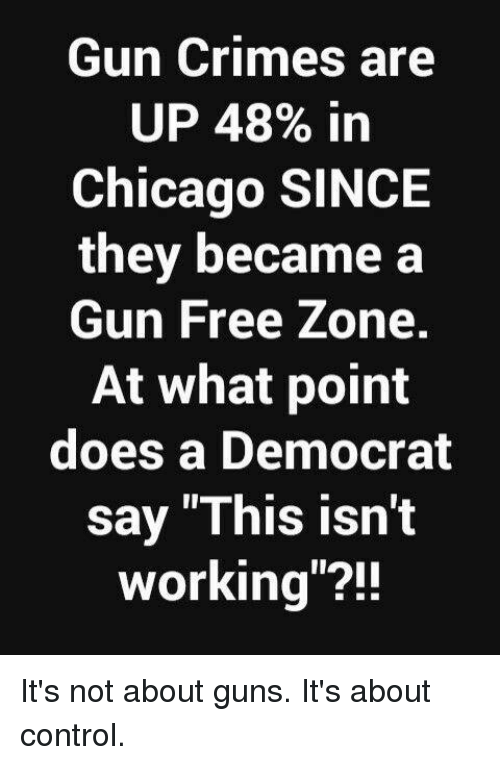 "Gun Free Zone: Gun Crimes are  UP 48% in  Chicago SINCE  they became a  Gun Free Zone.  At what point  does a Democrat  say ""This isn't  working""?! It's not about guns. It's about control."